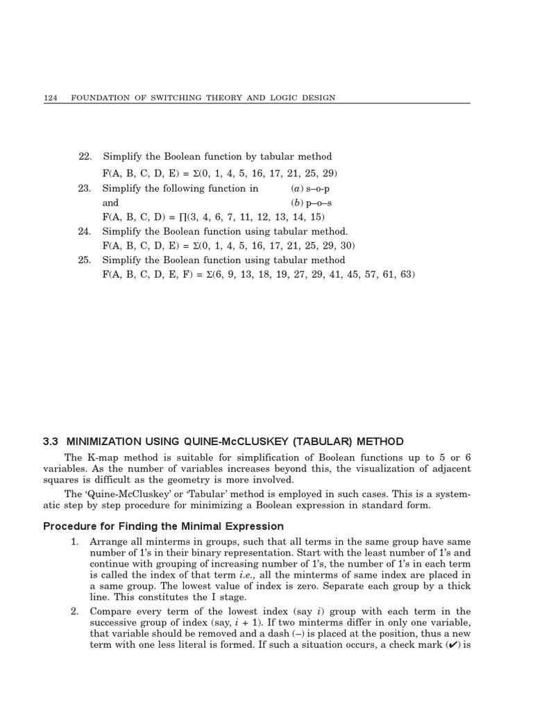Tabular method boolean algebra abstract algebra falaconquin