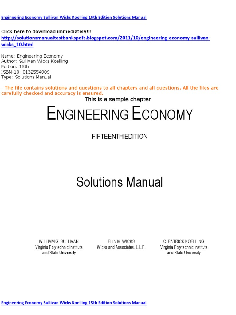 pictures engineering economy fifteenth edition solutions manual rh transejecutivodelllano com engineering economy solution manual sullivan 15th ed engineering economy solution manual sullivan 15th ed