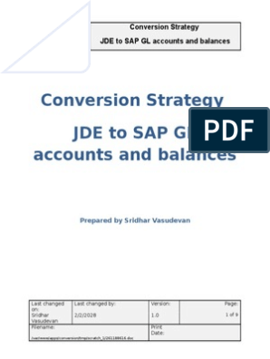 JDE - SAP Conversion Strategy | Debits And Credits | Computing
