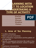Location of New Undertaking & Types of Activity