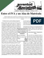 Boletín UJS Febrero 2015 Entre el IVA y el alza a la matrícula