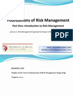 Lecture 1 - RM Approach Impact of Risk on Organisations