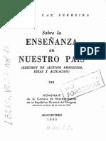 1963 Sobre La Enseñanza en Nuestro Pais Camara de Representantes