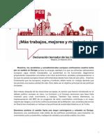 Resolución de economía y empleo del Partido de los Socialistas Europeos en Madrid (PDF)