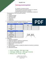TALLER DE QUIMICA 11º Nº 4 - REACCIONES Y ECUACIONES QUÍMICAS PRIMERA PARTE