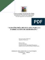 Albañilería reciclada para la fabricación de hormigón