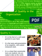 The Role of Quality in the Organization