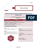 Deficit Recovery Options and Financial Forecast