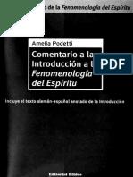 Comentario a La Introduccion a La Fenomenologia Del Espiritu Amelia Podetti