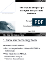 The top 20 design tips for MySQL Enterprise data architects