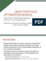 Portfolio Management using Robust Optimization