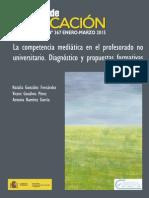 La Competencia Mediática en El Profesorado No Universitario. Diagnóstico y Propuestas Formativas