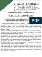 Lettera alle Famiglie - 22 febbraio 2015