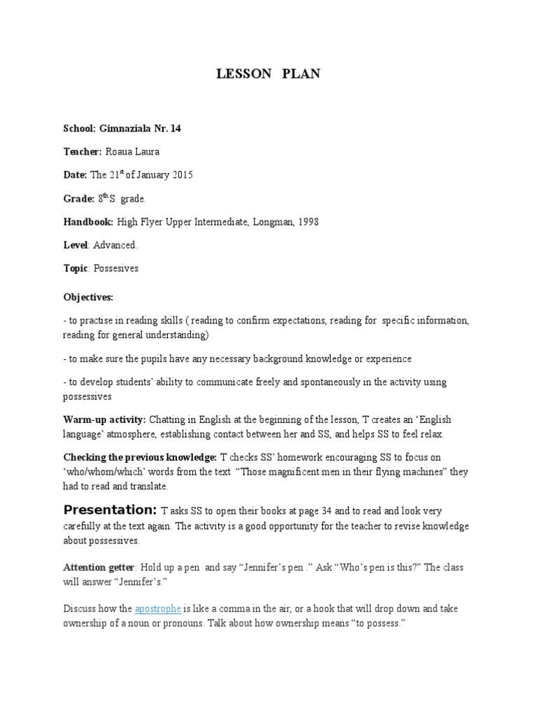 Lesson Plan: Presentation