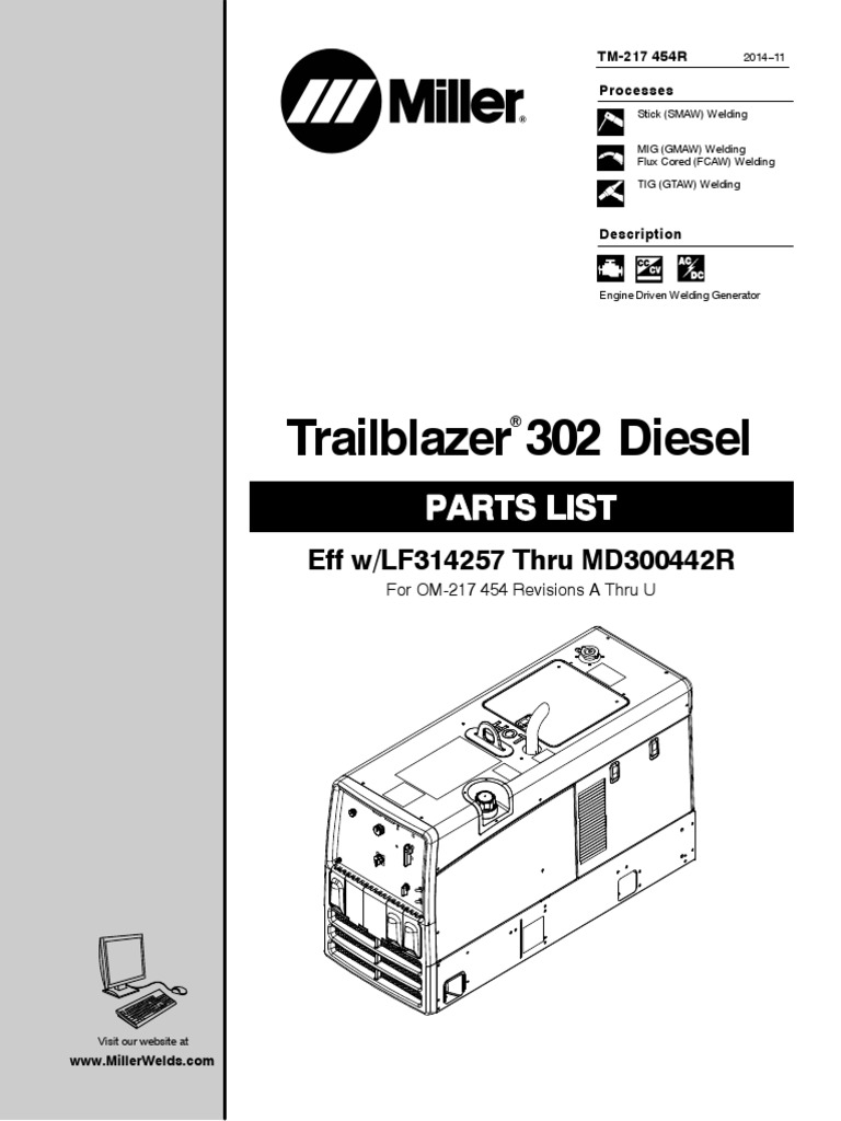Manual Partes Motosoldadora Trailblazer 302 Diesel