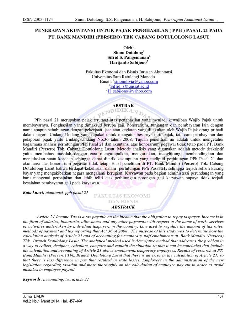 Penerapan Akuntansi Untuk Pajak Penghasilan Pph Pasal 21