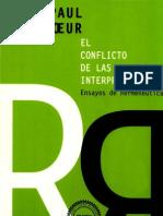 Ricoeur, Paul El Conflicto de Las Interpretaciones