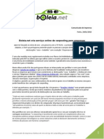 PR - Boleia.net Cria Serviço Online de Carpooling Para as Empresas