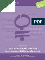 Colloque Du 20 Novembre 2014 Les Vulnérabilités Au Coeur Des Violences Faites Aux Femmes
