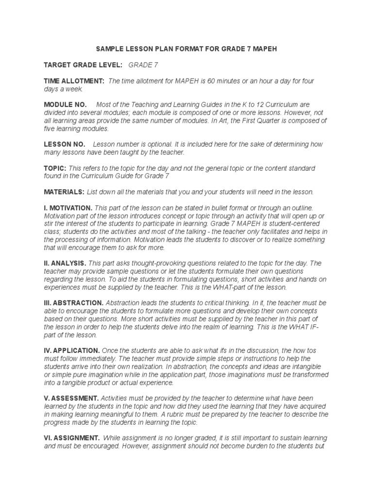 Sample Lesson Plan Format For Grade 7 Mapeh | Lesson Plan | Teachers