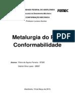 Metalurgia Do Pó e Conformabilidade
