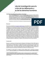 Una agenda de investigación para la protección de los defensores y defensoras de los Derechos Humanos