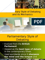 Parliamentary Style of Debating