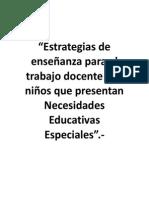 Estrategias enseñanza necesidades especiales