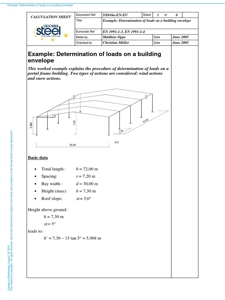 sx016a en eu example determination of loads on a building envelope