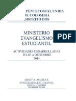 Informe Evangelismo Estudiantil Diciembre 2014