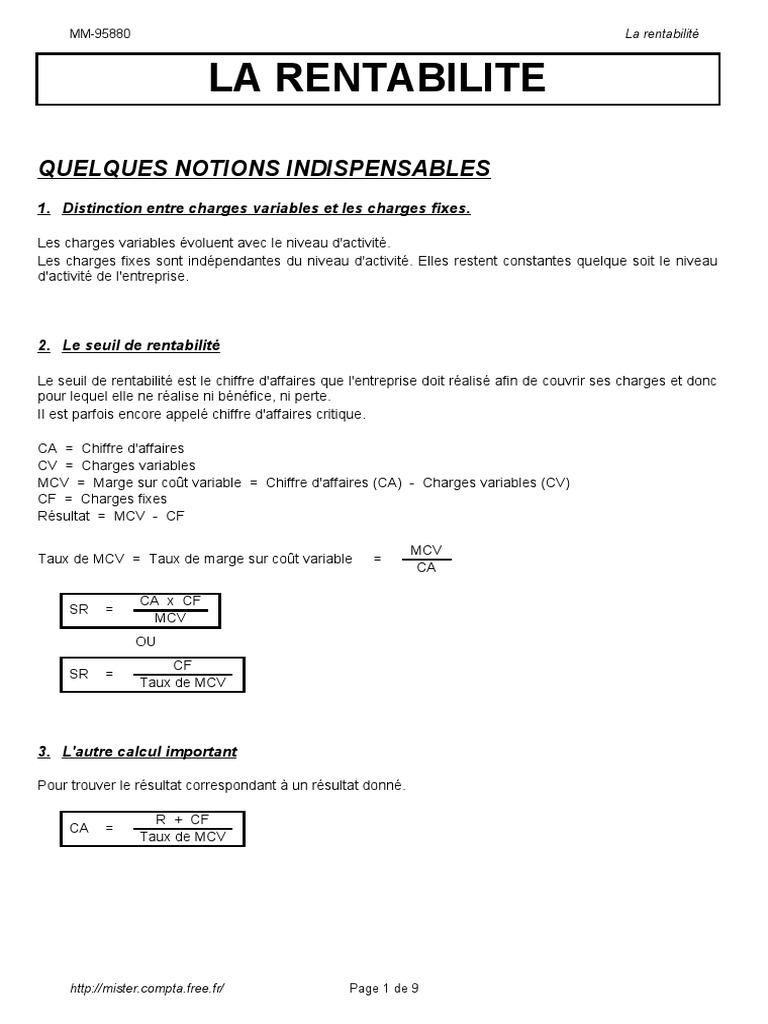 Seuil De Rentabilite Distribution Du Revenu Des Facteurs Commercialisation
