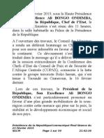 Communiqué Final du Conseil des Ministres du 23 Février 2015
