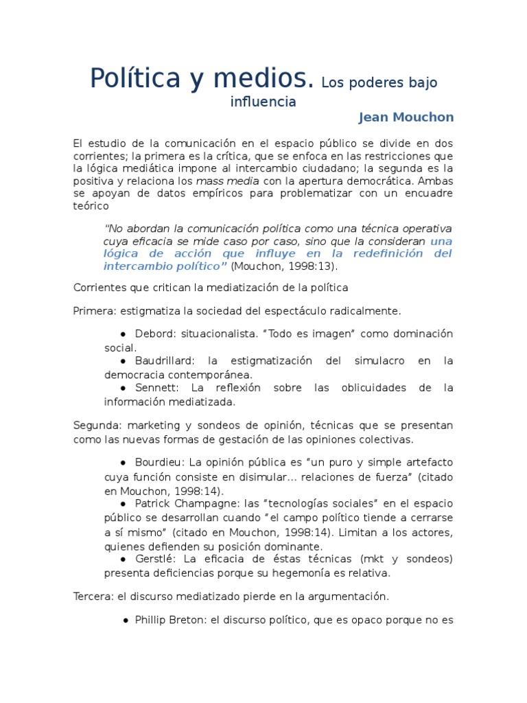 Política y Medios. Jean Mouchon