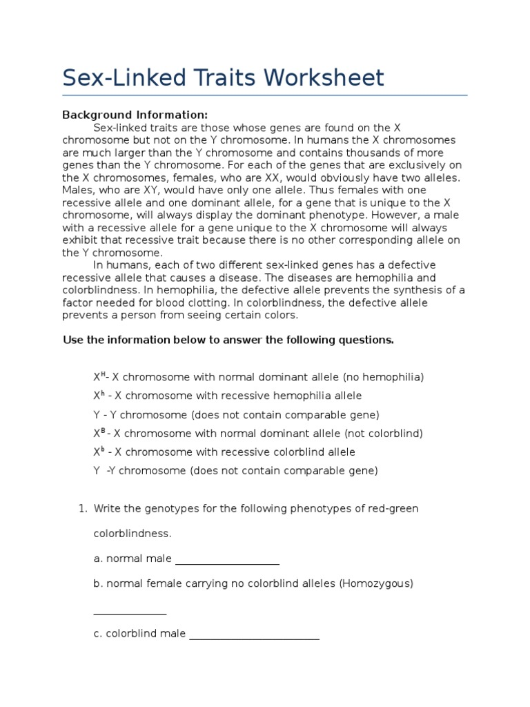 Fillable Online worksheet sex linked crosses 2009doc Fax Email ...