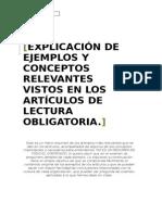 Ejemplos y Conceptos Relevantes en Los Artículos de Lectura Obligatoria