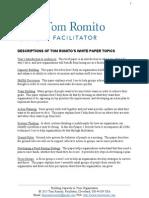 Tom Romito's White Paper Topic Descriptions