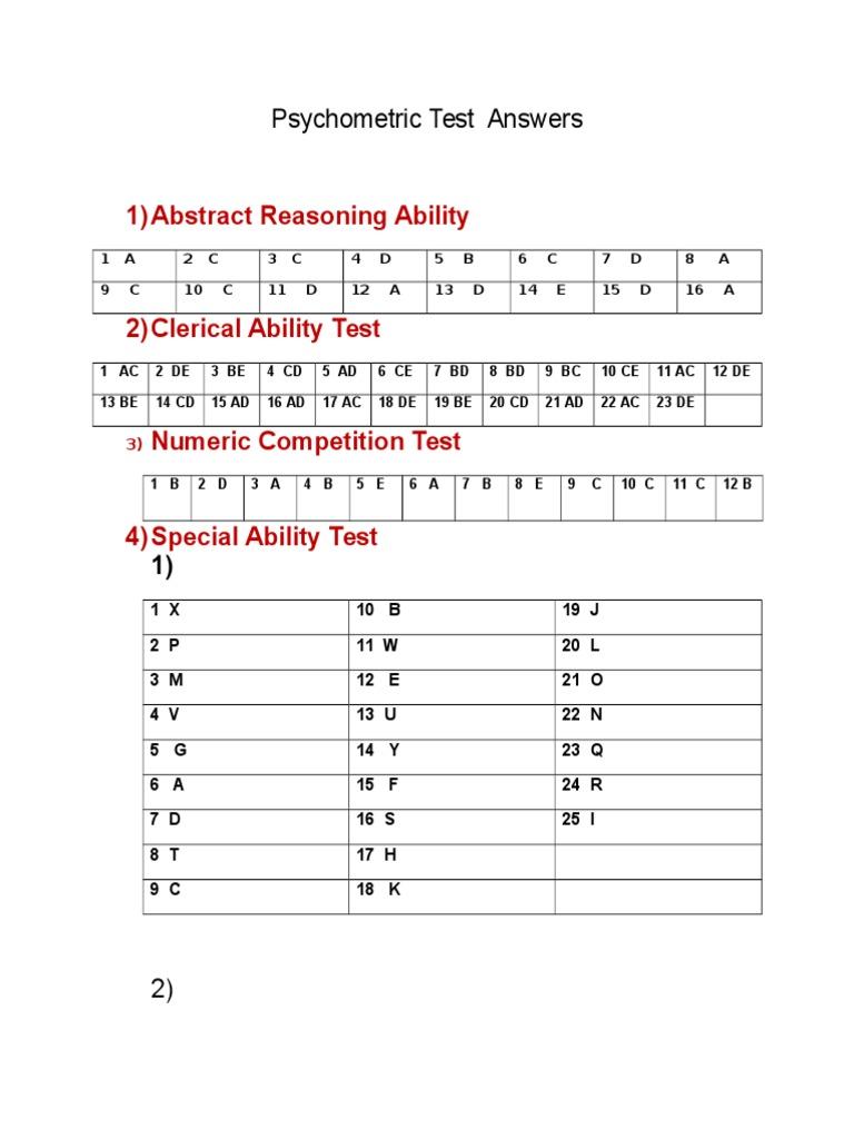 Psychometric test questions