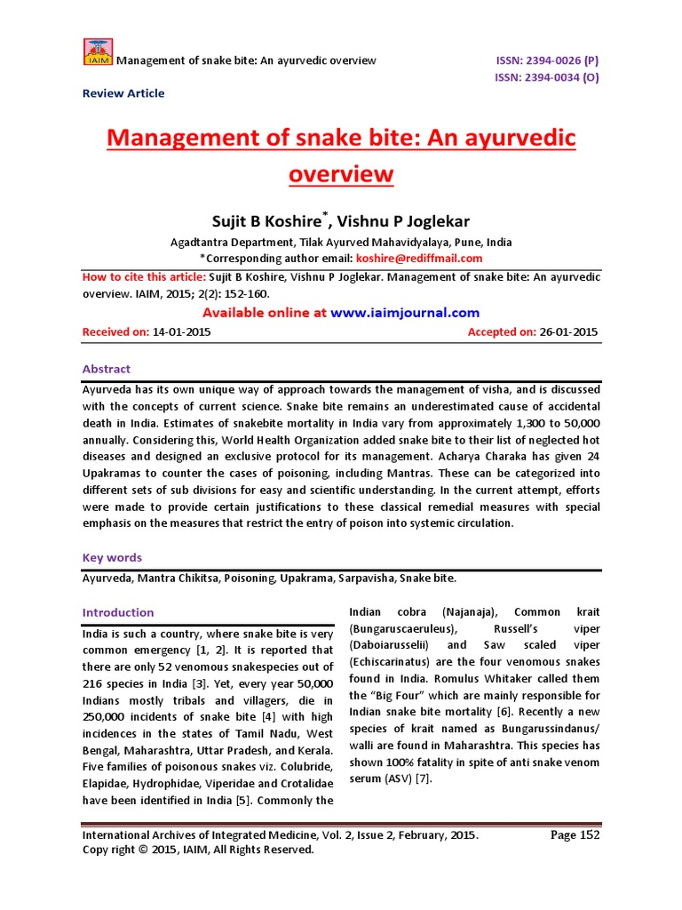 Management of snake bite: An ayurvedic overview | Ayurveda