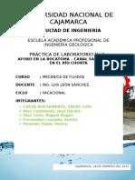 Práctica  Aforo en La Bocatoma Canal Sta Teresa en El Río Chonta (1)
