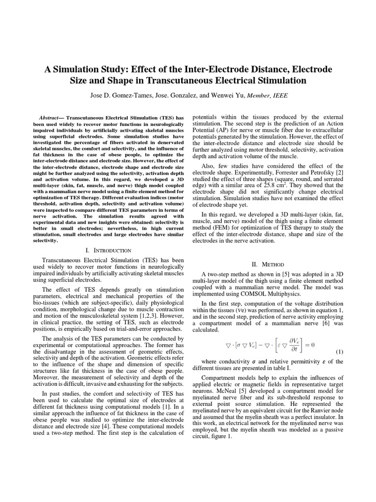 A Simulation Study Effect Of The Inter Electrode Distance