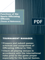Duties and Function of the Sports Officiating Officials