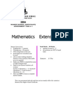 SBHS Mathematics Extension 2 2004 Yr 12 Ext 2 Task No.1