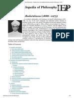 Internet Encyclopedia of Philosophy » Radhakrishnan, SarvepalliInternet Encyclopedia of Philosophy » Print