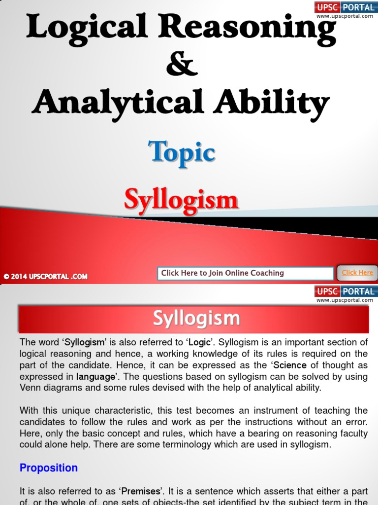 Logical reasoning and analytical ability syllogism 140401024135 logical reasoning and analytical ability syllogism 140401024135 phpapp01pdf proposition inference pooptronica