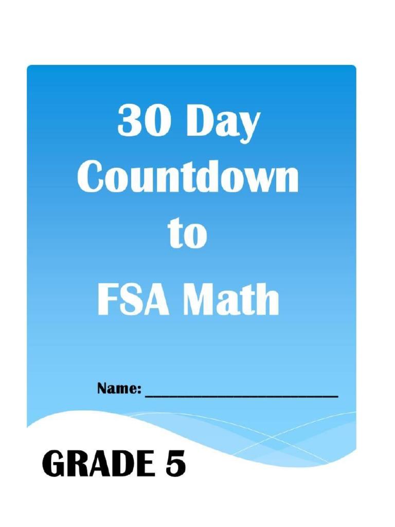 30 day countdown to math fsa- grade 5 | Rectangle | Volume