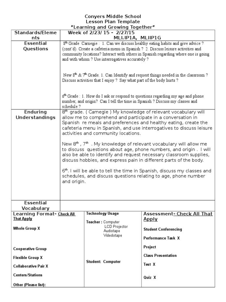 semester 2 week 7 spanish - s brown | Classroom | Lesson Plan