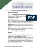 ESP. TEC. SISTEMA de AGUA POTABLE - Obras y Trabajos Preliminares