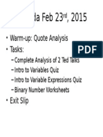 Agenda Feb 23rd, 2015