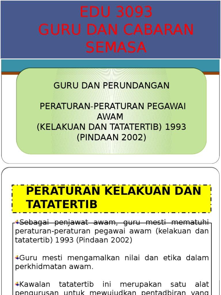 Peraturan Peraturan Pegawai Awam Kelakuan Dan Tatatertib 1993 Pindaan 2002