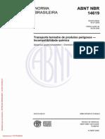 NBR 14619 - 2009 - Transporte Terrestre de Produtos Perigosos - Incompatibilidade Química